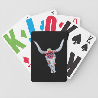 painted cow skull on black bicycle playing cards
