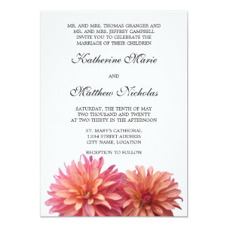 Painted Dahlia Flower in Pink and Coral Invitation