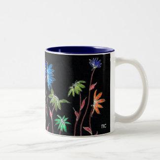 Painted Daisies on Black Two-Tone Coffee Mug