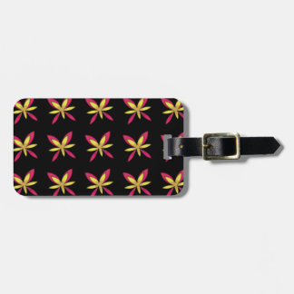 Painted Delicate Pink & Yellow Flowers On Black Luggage Tag