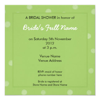 Painted Dots green Bridal Shower Invitation