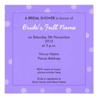 Painted Dots purple Bridal Shower Invitation