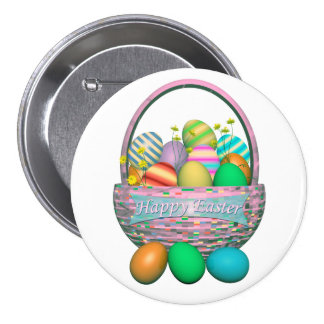 Painted Easter Eggs in Basket 7.5 Cm Round Badge