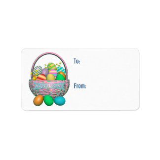 Painted Easter Eggs in Basket Gift Tag