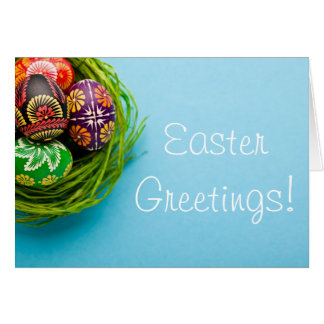 Painted Easter Eggs in Basket on Blue Card