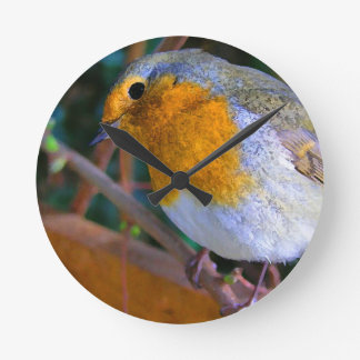 Painted Effect Robin Round Clock