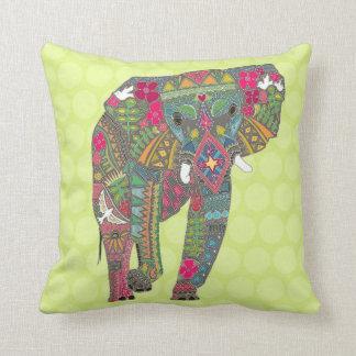 painted elephant chartreuse dot cushion