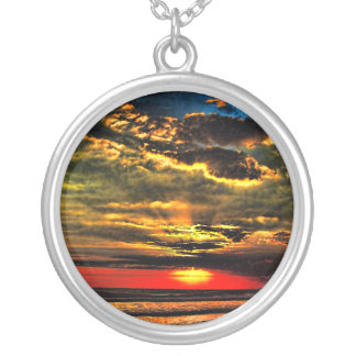 Painted Evening Sky Round Pendant Necklace