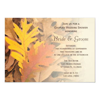 Painted Fall Leaves Couples Wedding Shower Invite