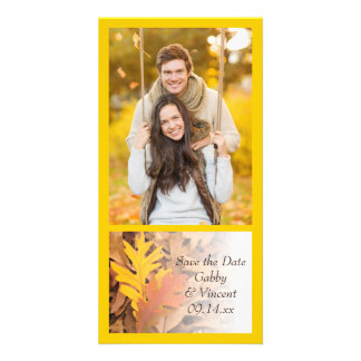 Painted Fall Leaves Wedding Save the Date Picture Card