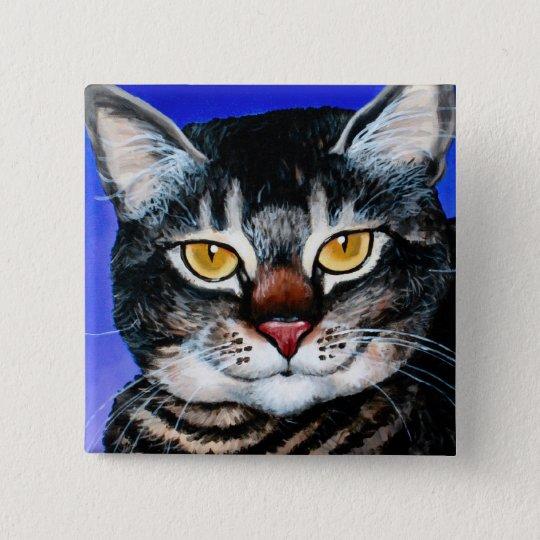 Painted Fat Cat 15 Cm Square Badge