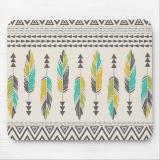 Painted Feathers-Cream Mouse Pad
