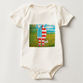 painted flag big foot Australo Baby Bodysuit