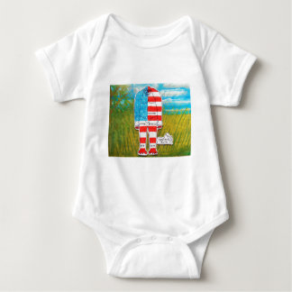 painted flag big foot Homo erectus Baby Bodysuit