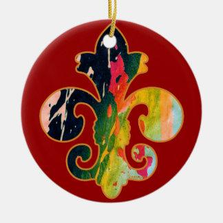Painted Fleur de lis 1 Double-Sided Ceramic Round Christmas Ornament