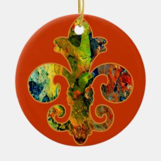 Painted Fleur de lis 2 Double-Sided Ceramic Round Christmas Ornament