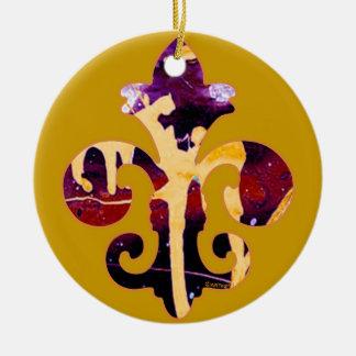 Painted Fleur de lis 3 Double-Sided Ceramic Round Christmas Ornament