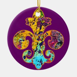 Painted Fleur de lis 4 Christmas Tree Ornament