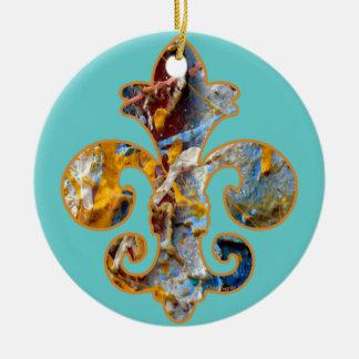 Painted Fleur de lis 5 Double-Sided Ceramic Round Christmas Ornament