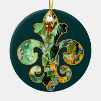 Painted Fleur de lis 6 Double-Sided Ceramic Round Christmas Ornament