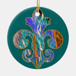 Painted Fleur de lis 7 Double-Sided Ceramic Round Christmas Ornament