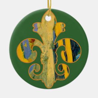 Painted Fleur de lis 8 Double-Sided Ceramic Round Christmas Ornament