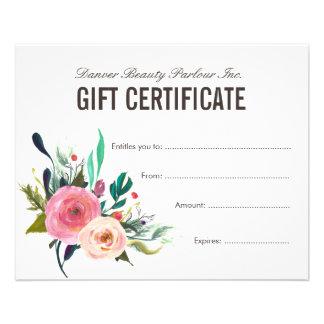 Painted Floral Beauty Salon Gift Certificate 11.5 Cm X 14 Cm Flyer