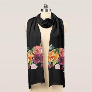 Painted Floral Black Scarf