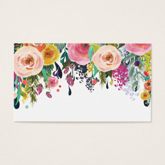 Painted Floral Blank Wedding Table Place Cards. Business