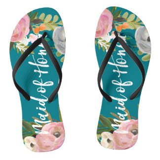 Painted Floral Blooms Maid of Honor Flip Flops