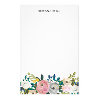 Painted Floral Blooms Spring Garden Garland Teal Stationery