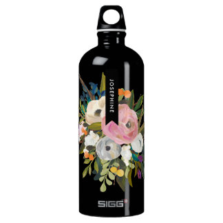 Painted Floral Bouquet Personalized Name SIGG Traveller 1.0L Water Bottle