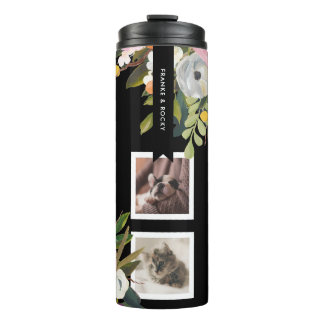 Painted Floral Collage Personalized Pet Photo Thermal Tumbler