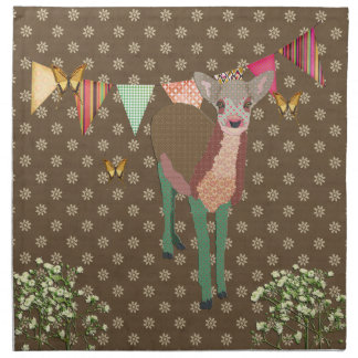 Painted Floral Fawn Brown  American MoJo Napk Napkin