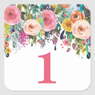 Painted Floral Garden Number Birthday Party Square Sticker