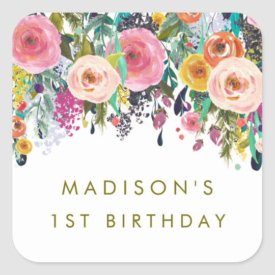 Painted Floral Garden Personalised Party Stickers