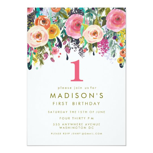Painted floral girls 1st birthday invite zazzle painted floral girls 1st birthday invite stopboris Images