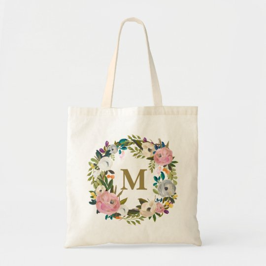 Painted Floral Personalised Monogram Canvas Bag