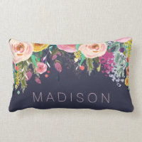 Painted Floral Personalized Girls Cushion