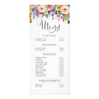 Painted Floral Salon Stylist Menu Price List Rack Cards