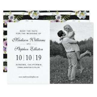 Painted Floral Striped Pattern - Save the Date Card