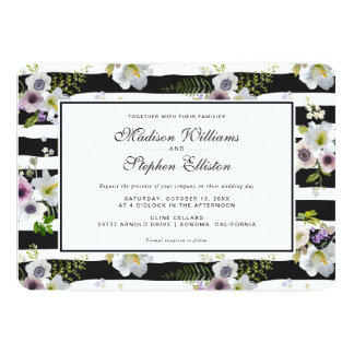 Painted Floral Striped Pattern - Wedding Card