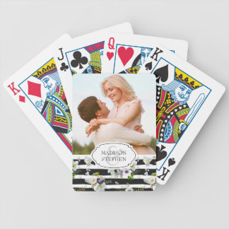 Painted Floral Striped Pattern - Wedding Photo Bicycle Playing Cards