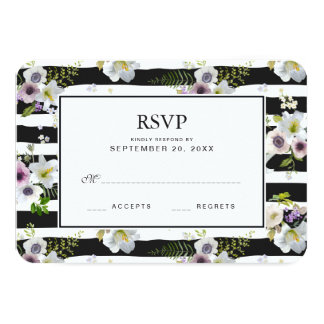 Painted Floral Striped Pattern - Wedding RSVP Card