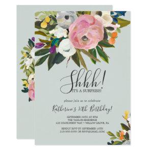 Painted Floral Surprise Party Invitation