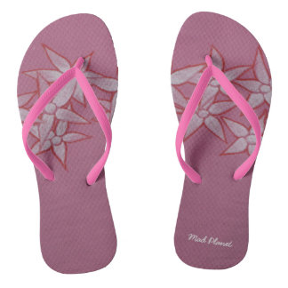 Painted Flower Pink Flip Flops