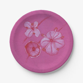 Painted Flower Pink Paper Plates