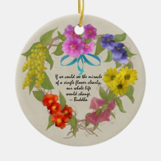 Painted Flower Wreath with Quote Ornament