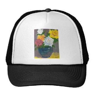 Painted Flowers in Vase Mesh Hat