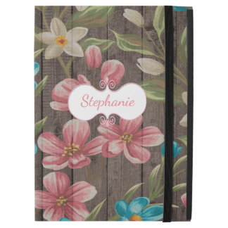Painted Flowers on Wood iPad Pro Case